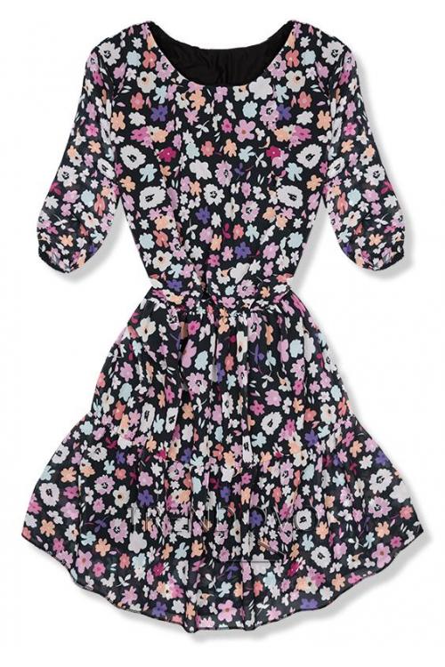 de9864628b84 -23% Čierno-fialové kvetinové šaty