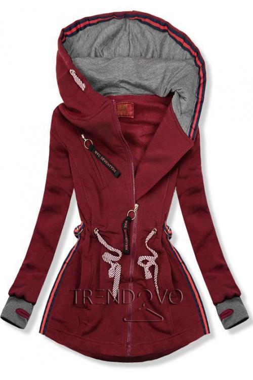 4f34783a76f6 Sivo marhuľová mikina s kapucňou - Dámske oblečenie