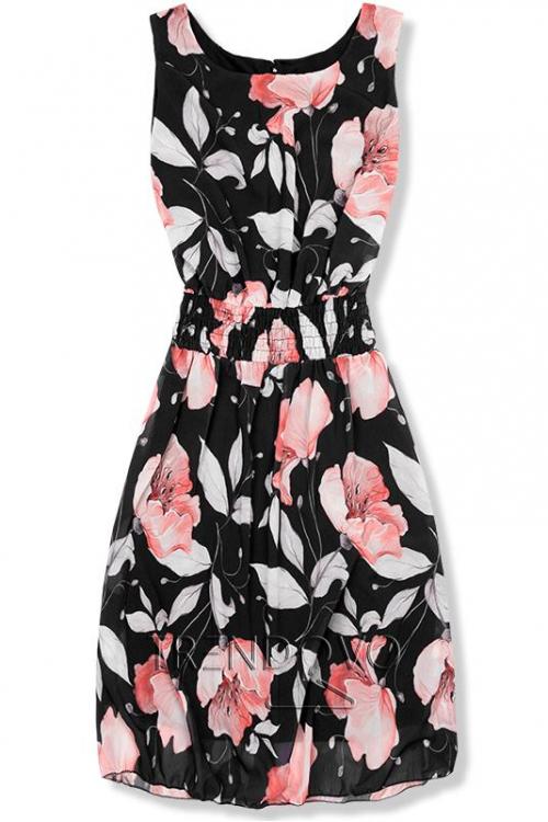 45619887e87a -22% Čierne elegantné šaty s kvetinovým vzorom