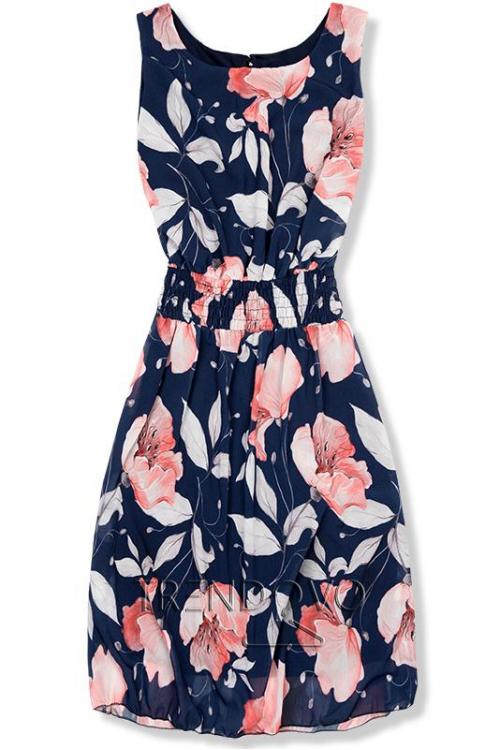 58318a3c0930 -22% Tmavomodré elegantné šaty s kvetinovým vzorom