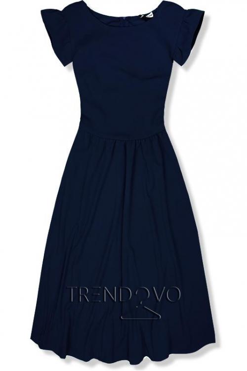 e6b619f723c7 Tmavomodré elegantné midi šaty