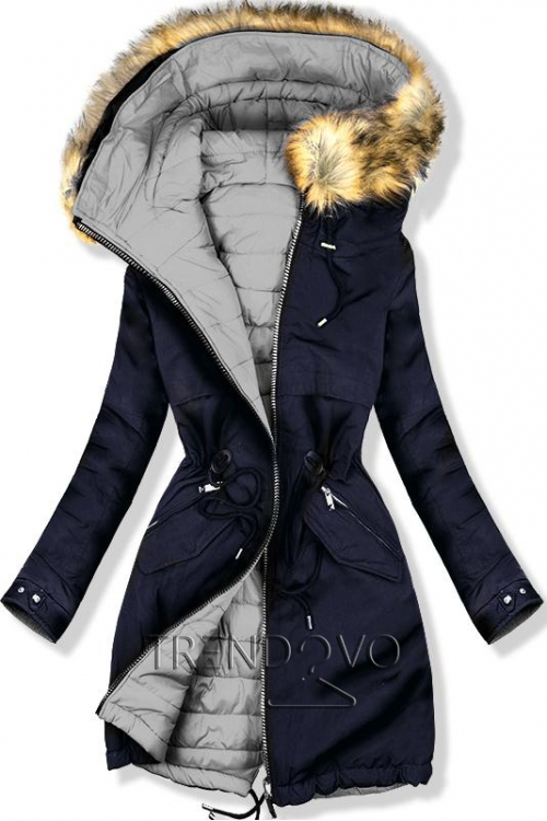 Obojstranná bunda modrá/sivá