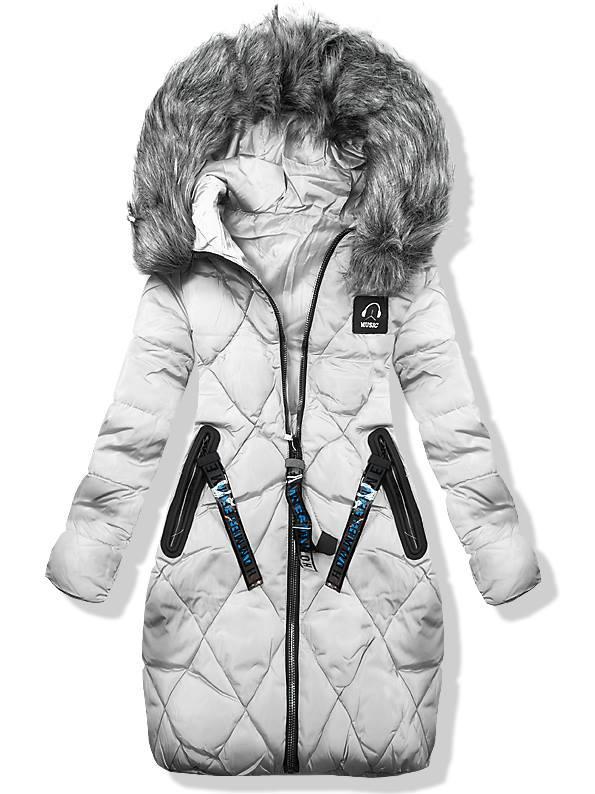 Sivá zimná predĺžená bunda 8809-1
