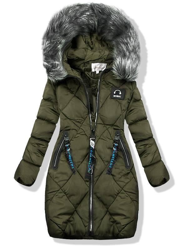 Khaki zimná predĺžená bunda 8809-1