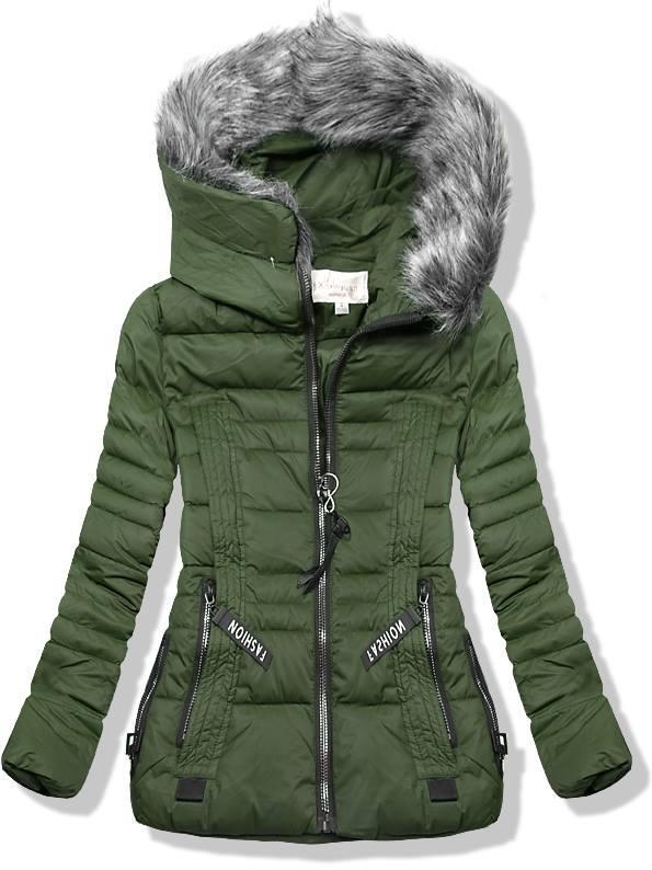 Zelená krátka zimná bunda