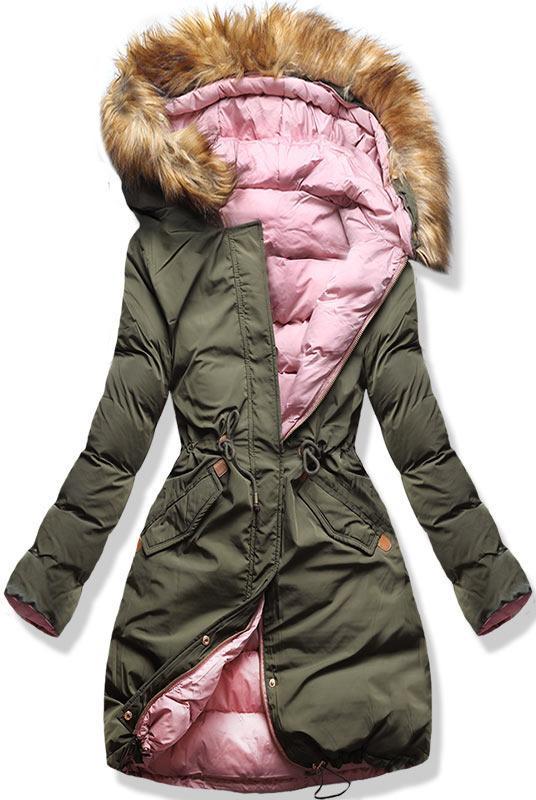 Khaki/ružová obojstranná zimná bunda