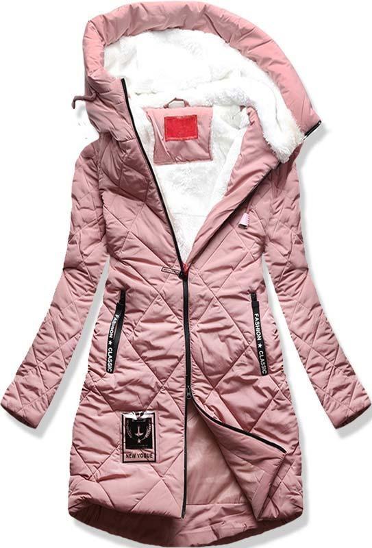 Ružová dlhá zimná bunda