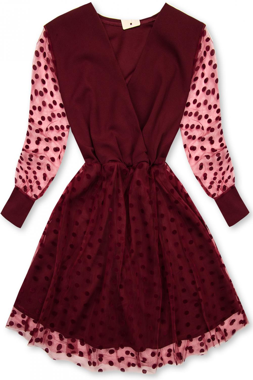 Bordové šaty s bodkami