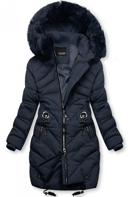 Modrá zimná bunda s umelou kožušinou