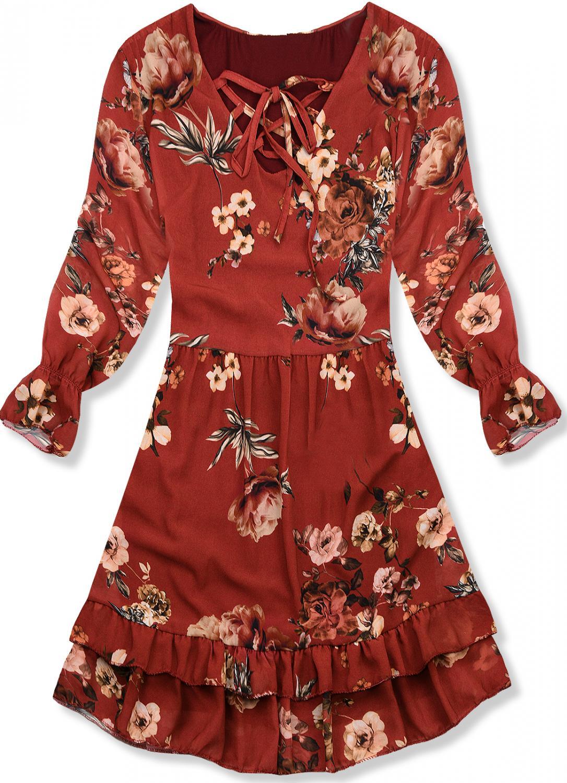 Tehlovo oranžové kvetinové šaty