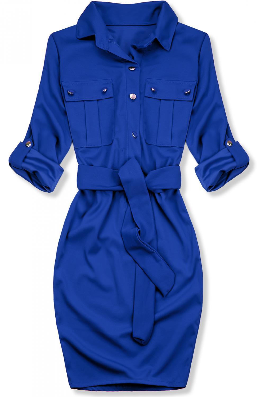 Modré puzdrové košeľové šaty