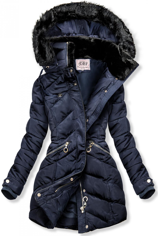 Modrá zimná bunda s teplým plyšovým golierom