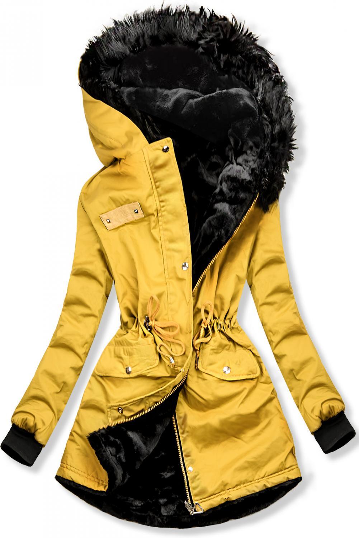 Žltá obojstranná zimná bunda