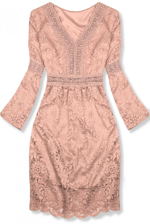 Ružové elegantné čipkované šaty